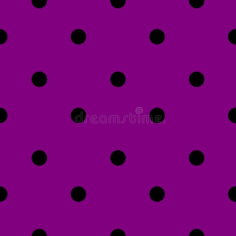 Halloween Tile Polka Dot Pattern With Black Dots on Purple Background vector illustration