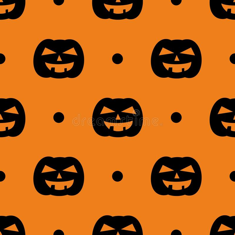 Halloween tile vector pattern with black pumpkin and polka dots on orange background stock illustration