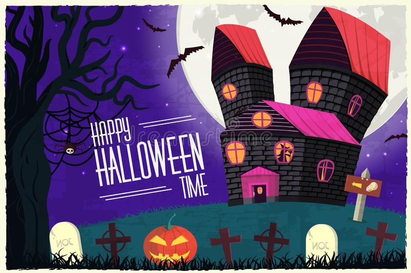 Halloween time background concept in retro style. Vector illustration design royalty free illustration