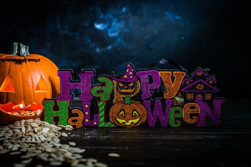 Halloween-titel med pumpa arkivbild