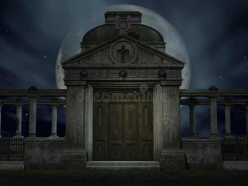 Halloween Tomb. 3D Render of an Halloween Tomb stock illustration