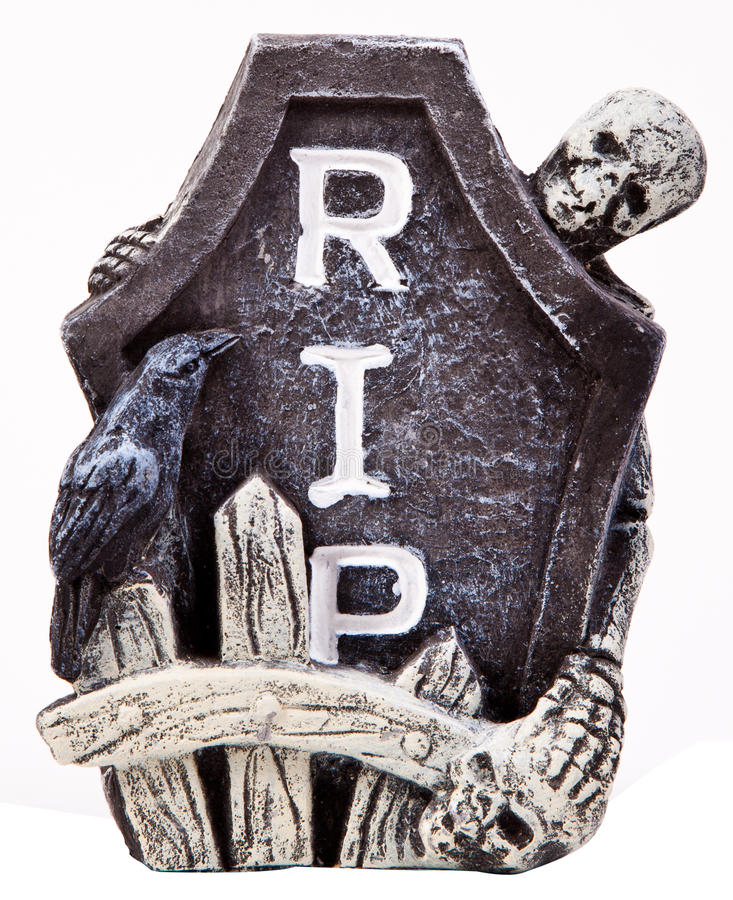 Halloween Tombstone. A Halloween tombstone isolated over a white background royalty free stock image