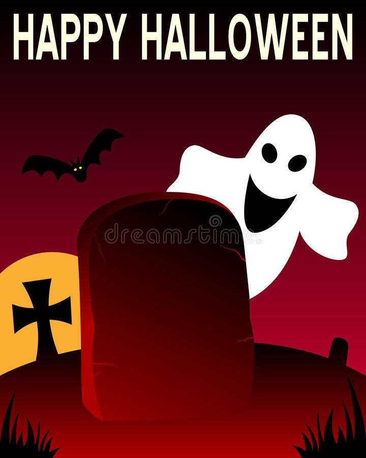 Halloween Tombstone and Ghost royalty free stock image
