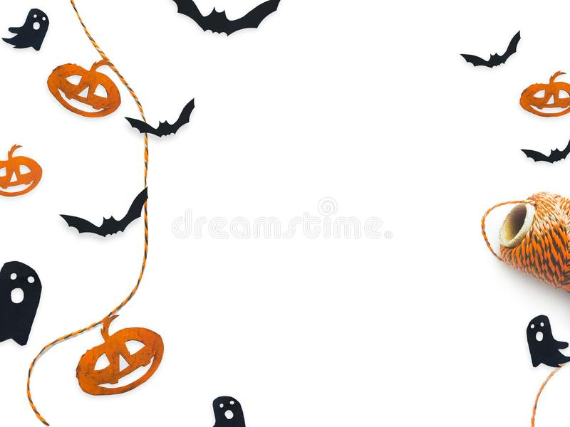 Halloween top view decorative mock up isolated on white. stock photography