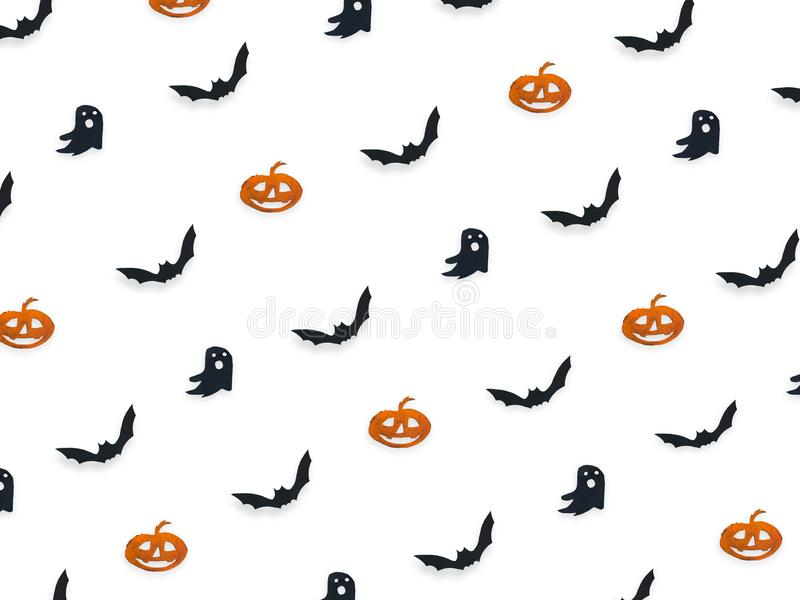 Halloween top view decorative mock up isolated on white. royalty free stock images