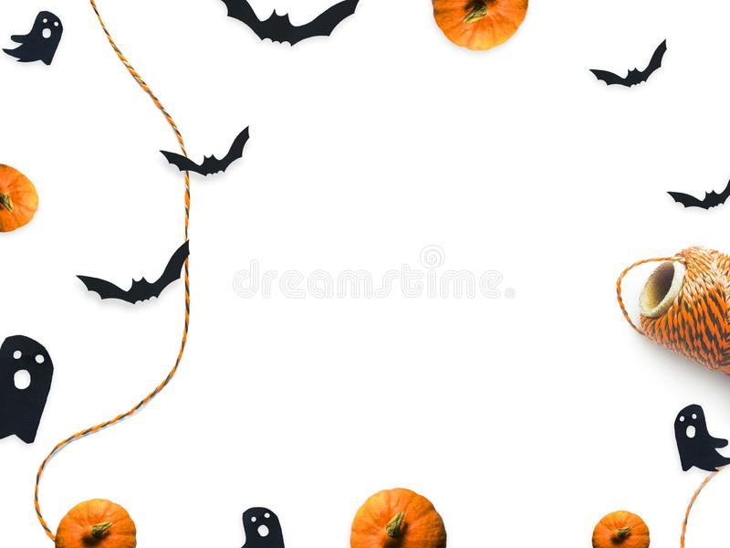 Halloween top view decorative mock up isolated on white. stock images