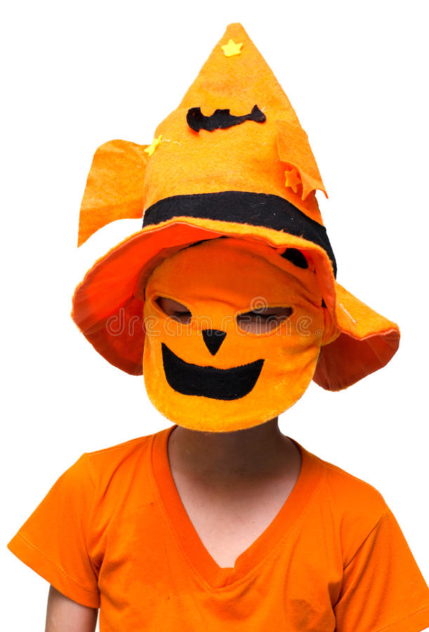 Halloween : Tour ou traitement de masque de potiron de garçon images stock