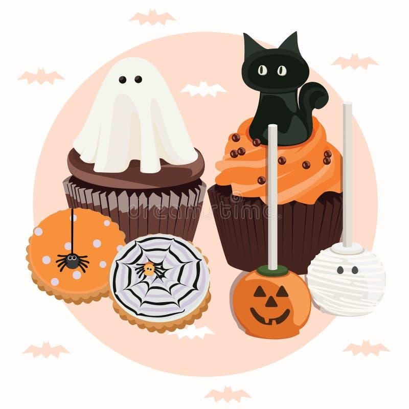 Halloween trata la idea para la celebración stock de ilustración