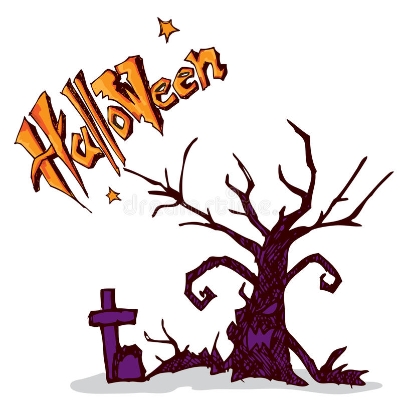 Halloween tree Graves A stock vector. Illustration of october - 78372042