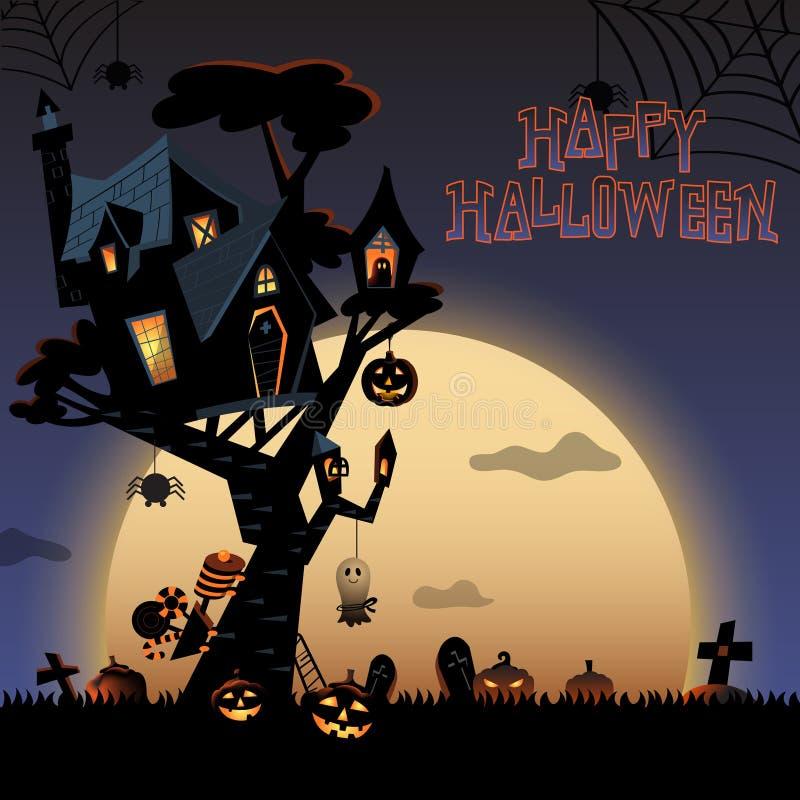 Halloween Tree House At A Night C Stock Illustration - Illustration
