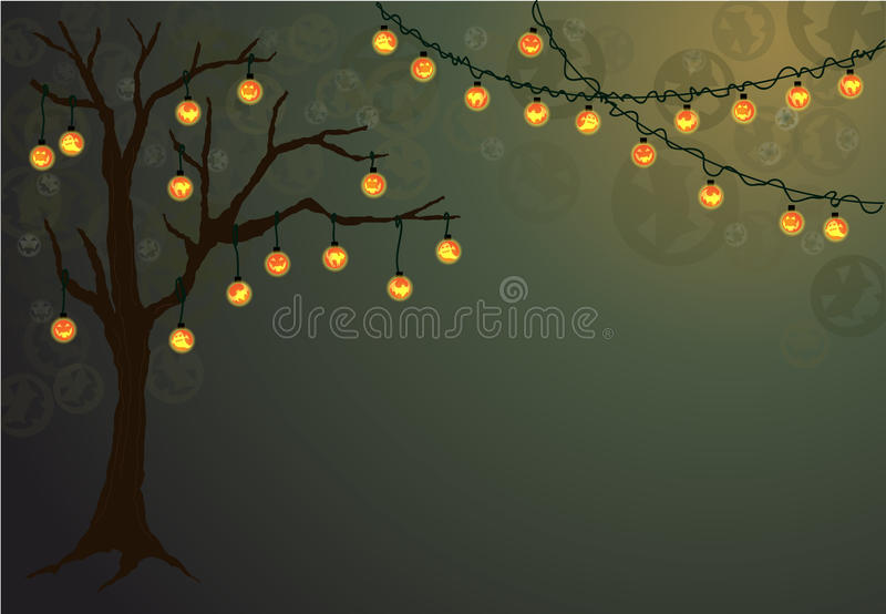 Halloween tree with spooky lights. royalty free illustration