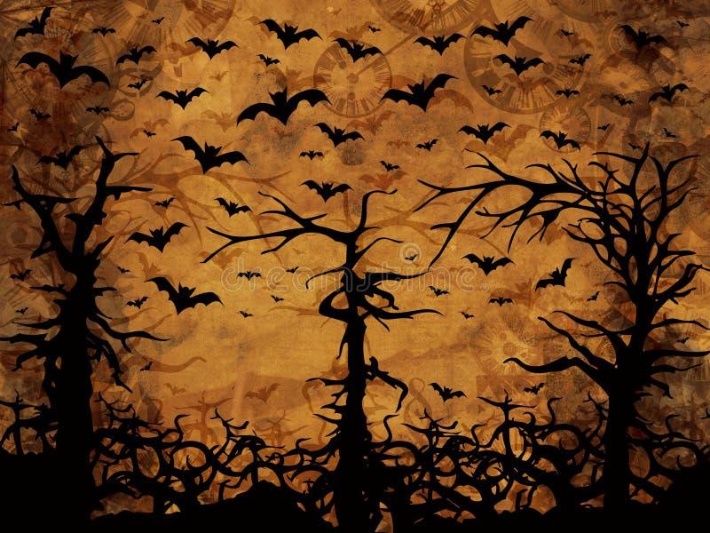 Halloween trees - bats and clocks, sepia background vector illustration