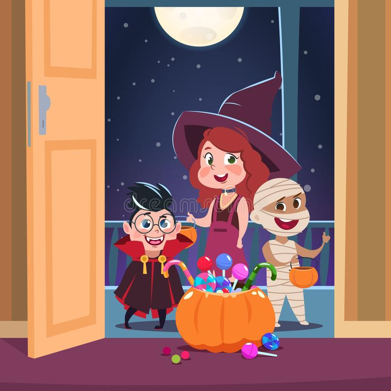 Halloween trick or treat background. Kids in halloween costumes with candies in doorway. Spooky october holliday vector royalty free illustration