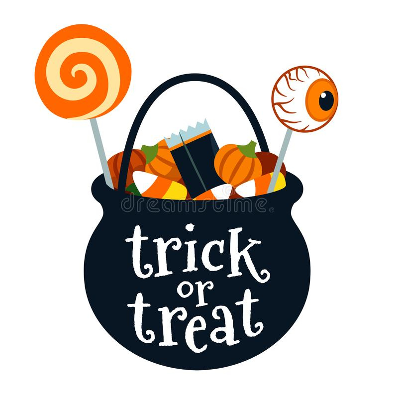Halloween trick or treat black cauldron bucket full of candy vector cartoon illustration isolated on white. Lollipops, candy corn. Candy pumpkins. Fall stock illustration