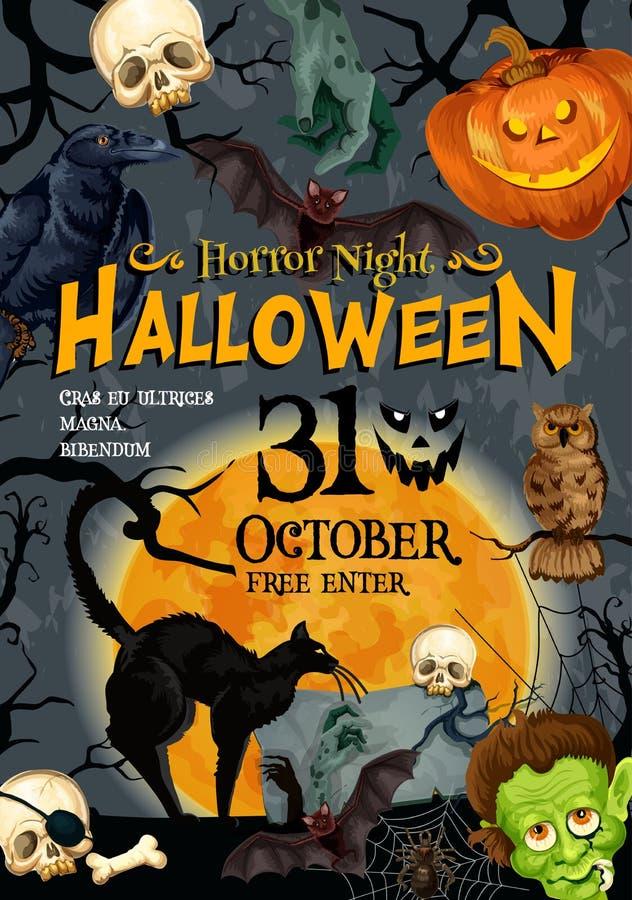 Download Halloween Party Vector Monster Night Poster Stock Vector    Illustration Of Hand, Halloween: