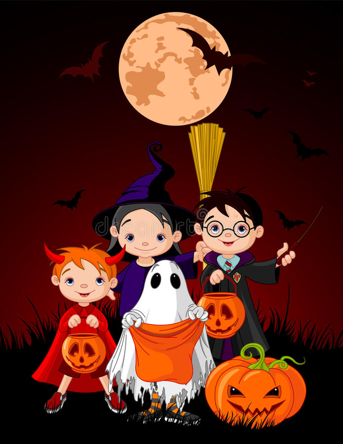 Halloween Trick Or Treating Children Stock Photo