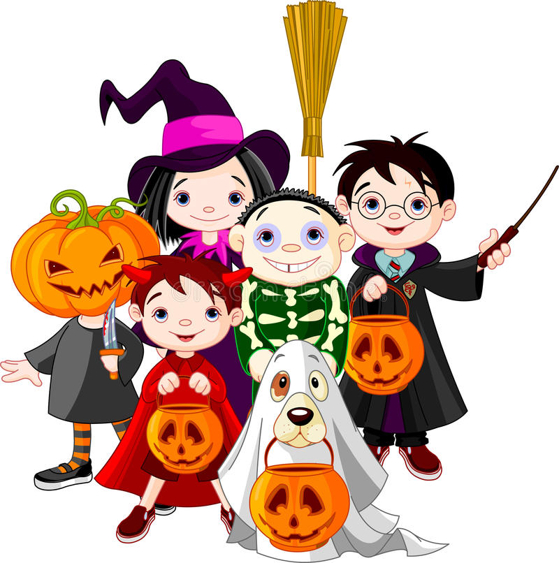 Halloween trick or treating children stock illustration