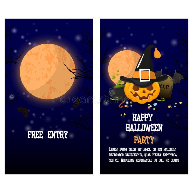 Halloween twee kantenaffiche, vlieger of menuontwerp Vector illustratie stock illustratie
