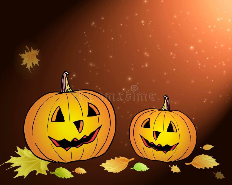 Halloween. Twee pompoenen vector illustratie