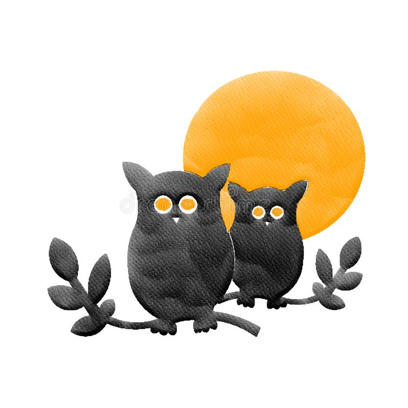 Halloween two black owl and orange moon,water color painting picture stock image