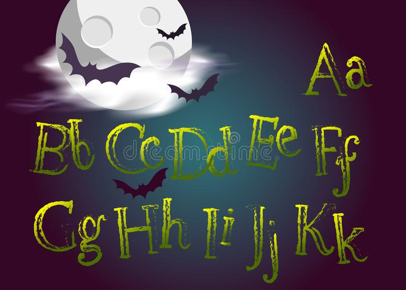 Halloween Typeset. Spooky Vector Font for Halloween Party. Grunge Green Hand Drawn Alphabet. royalty free illustration