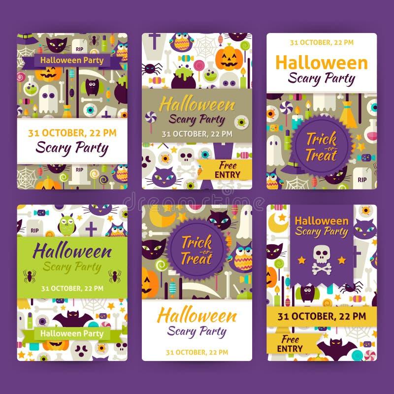 Halloween-Uitnodiging van het Partij de VectordieMalplaatje in Moderne Vlakke St wordt geplaatst stock illustratie