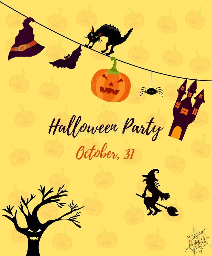 Halloween-uitnodigingskaart met kat, spookhuis, pompoen, heks, schrikboom en knuppel stock illustratie