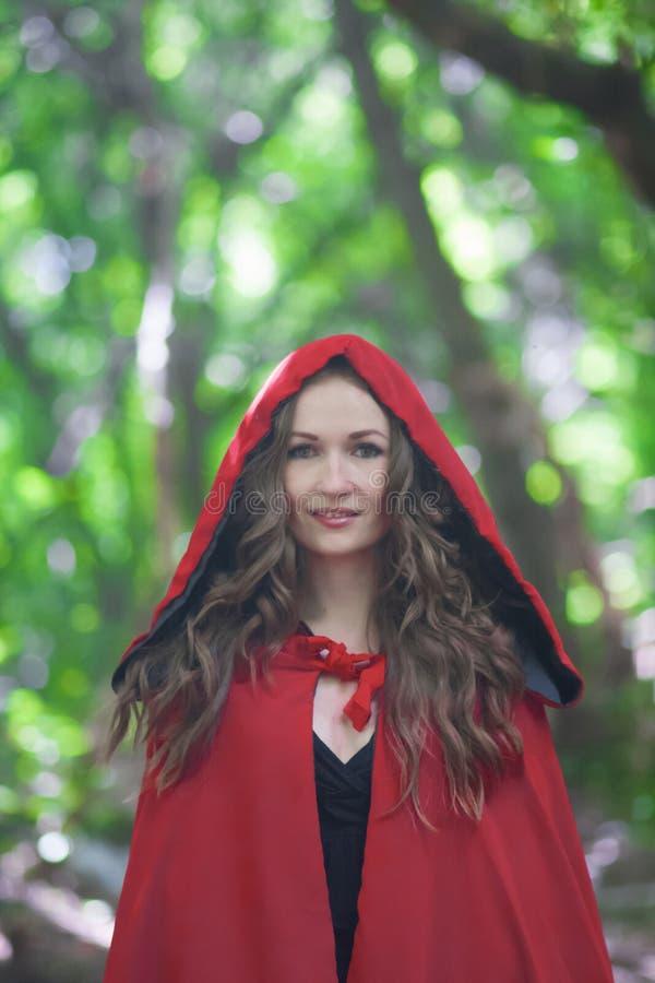 Halloween uma bruxa em um vermelho fotografia de stock