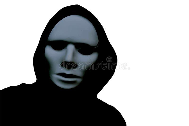 Halloween una siluetta incappucciata di una persona terrificante che indossa una maschera su un fondo bianco immagine stock libera da diritti