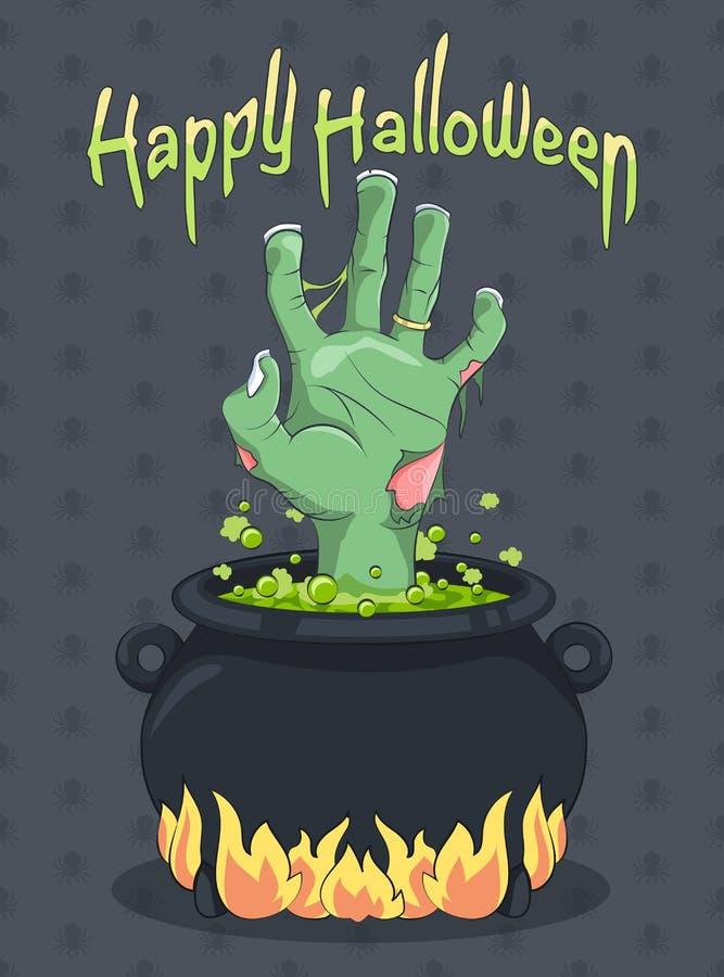 Halloween- und Zombiehand vom Hexen-großen Kessel stock abbildung