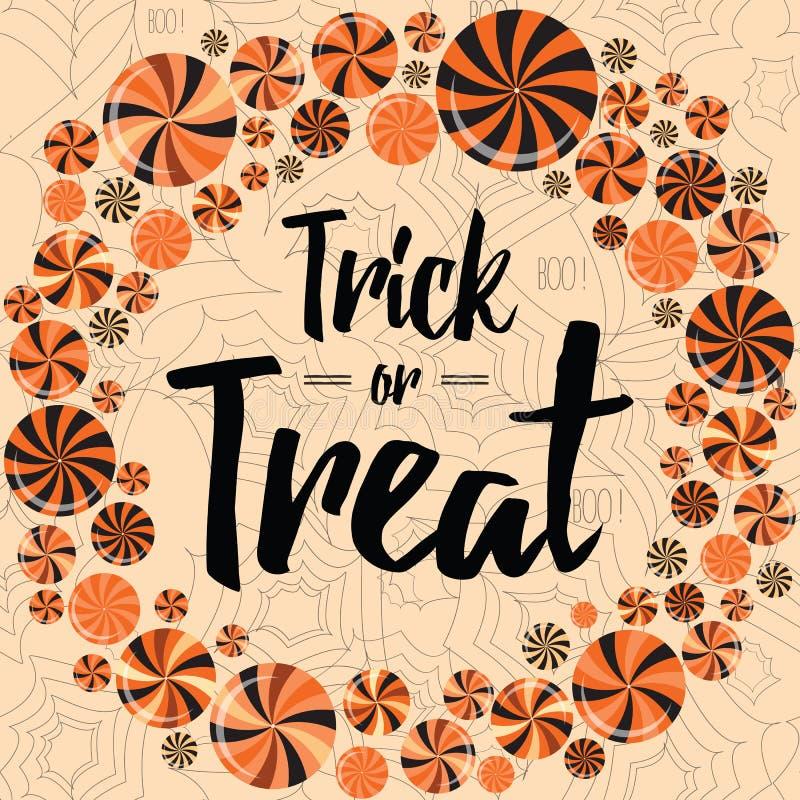 Halloween-vakantie wearth met heldere lollys De truc of behandelt bannerontwerp vector illustratie