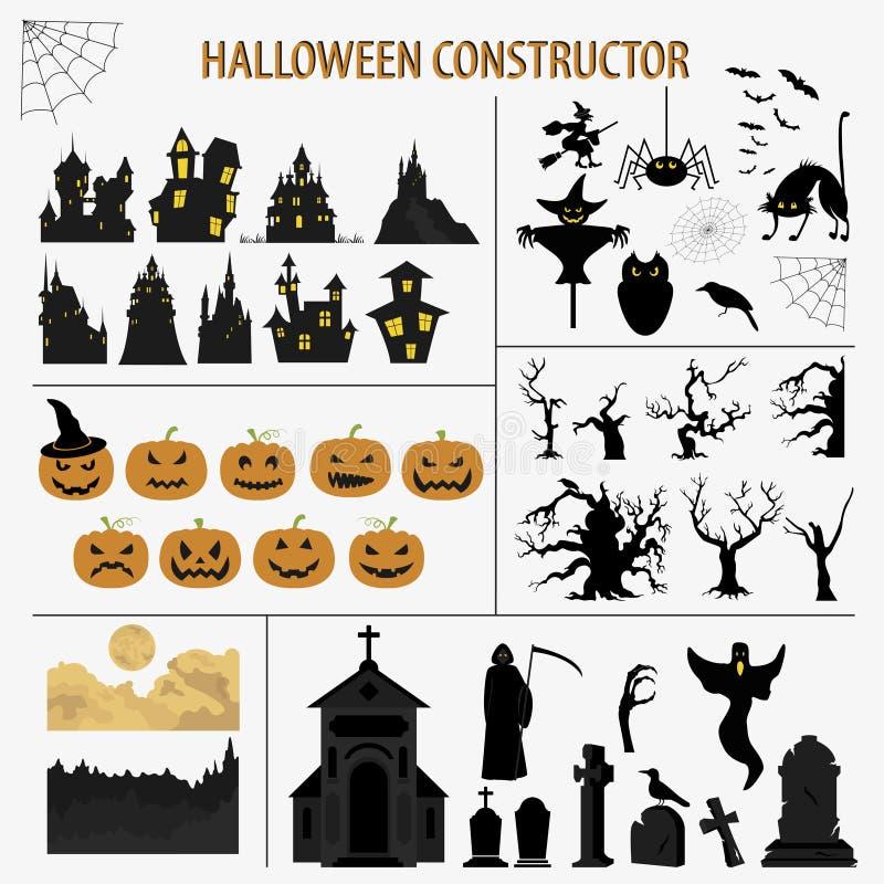 Halloween-vakantieaannemer Grafisch malplaatje Vlakke Pictogrammen stock illustratie