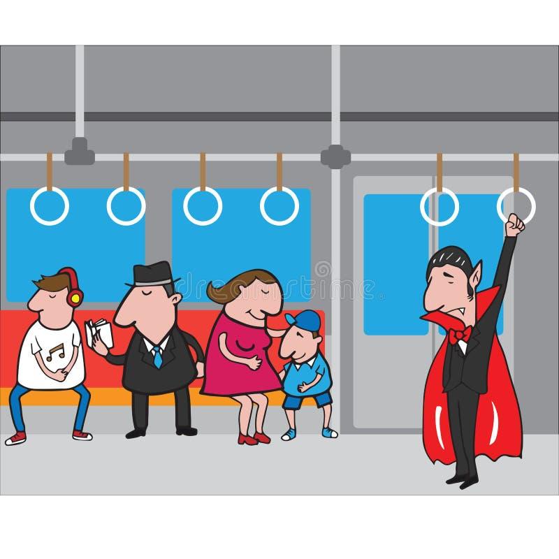 Halloween-vampier in metro 2 stock illustratie