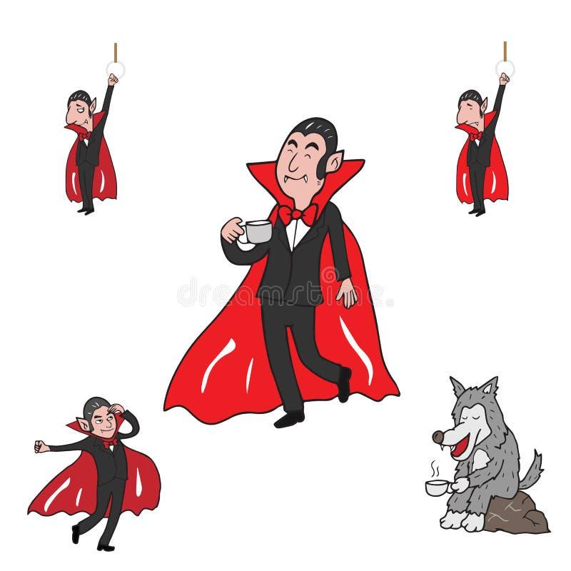 Halloween vampire and wolf. Halloween vampire and werewolf cartoon vector set