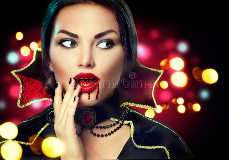Halloween vampire woman portrait stock photos