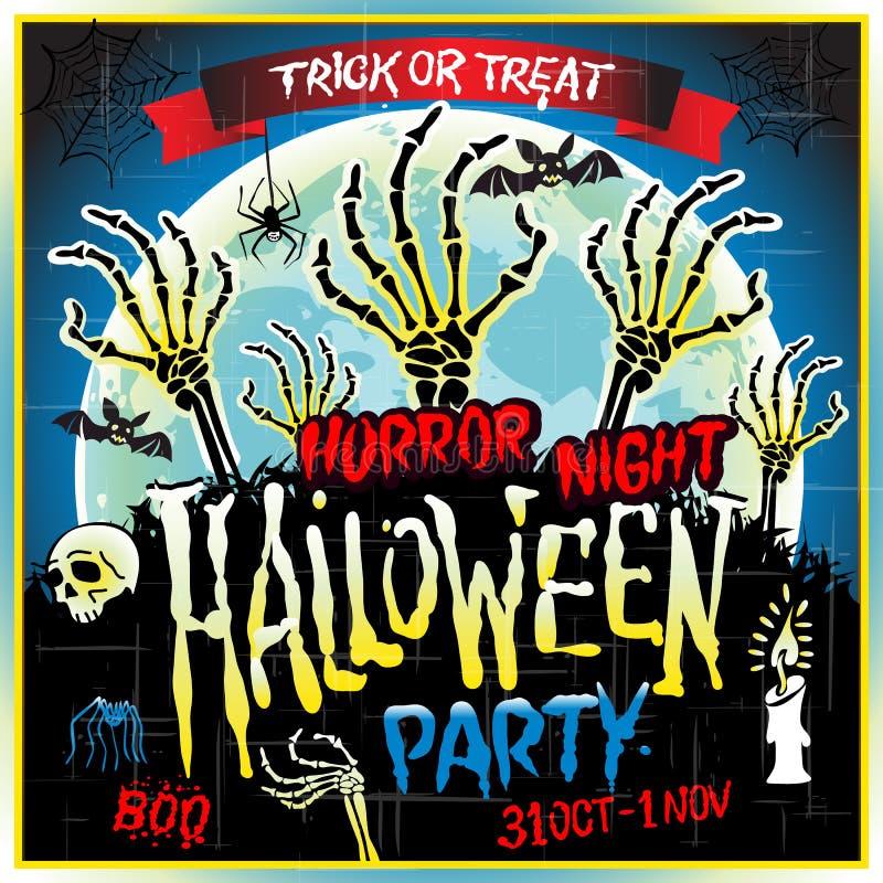 Halloween-van de de nachtaffiche van de partijverschrikking het ontwerpmalplaatje Vector illustratie royalty-vrije illustratie