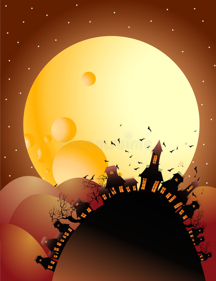Halloween van de volle maan nacht vector illustratie