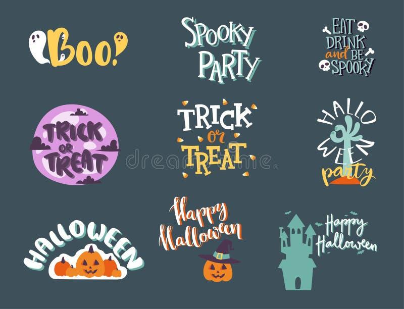 Halloween-van het de uitnodigingsembleem van de Dagviering van het de tekstkenteken van de de uitdrukkingen het vectorillustratie royalty-vrije illustratie