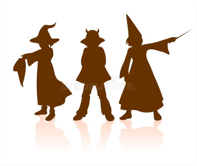 Halloween van kinderen silhouetten stock illustratie