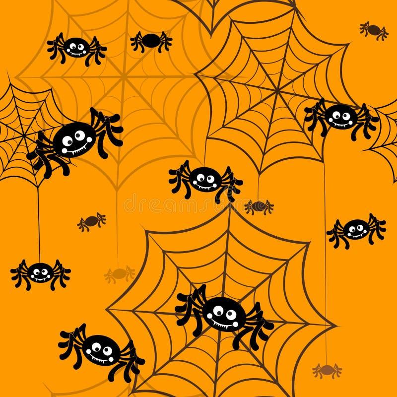 Halloween vector background seamless pattern. Spider web, halloween symbols. Halloween silhouette for halloween party. Halloween seamless background, spider royalty free illustration