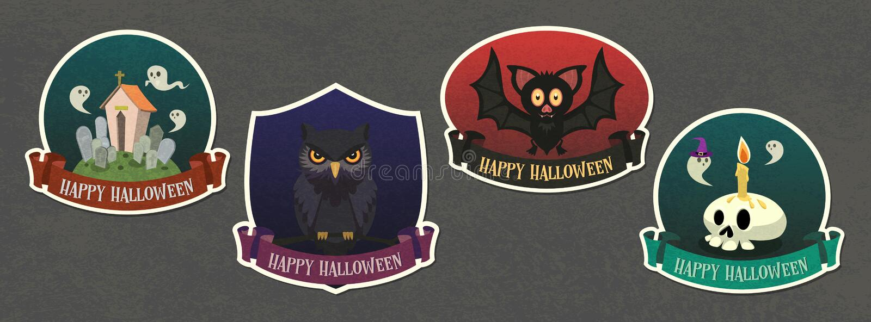 Halloween vector Badge with character cartoon set royalty free stock photo
