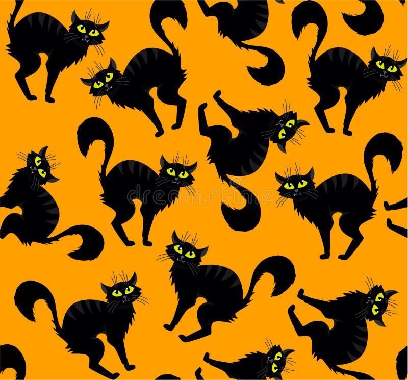 Halloween vector cartoon hand drawn cat seamless pattern. Illustration on orange background. Web design, decoration, banner poster print typographic textile stock illustration