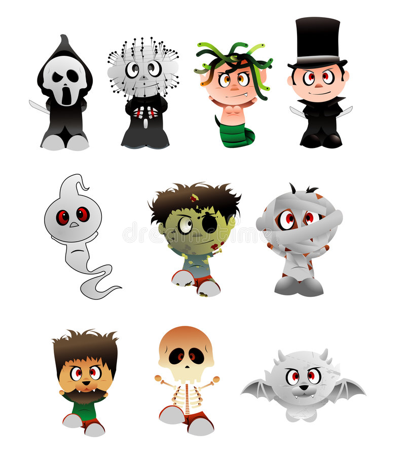 Download Halloween Vector Characters Stock Vector - Illustration of killer, banner: 6670492