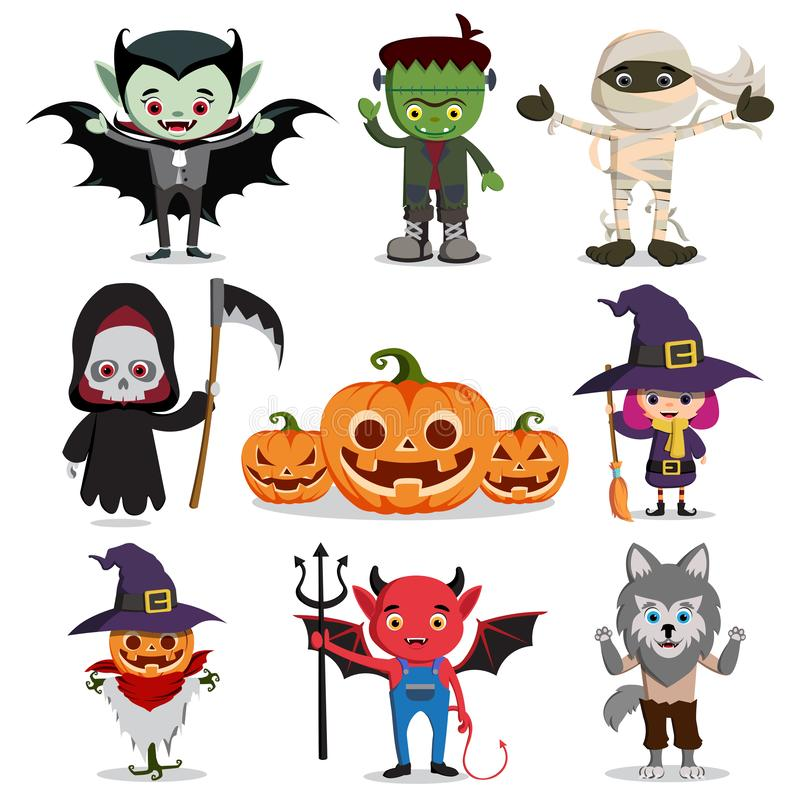 Halloween vector characters set. Flat scary cartoon horror elements. Like witch, reaper, ghost, vampire and zombie isolated in white. Vector illustration stock illustration