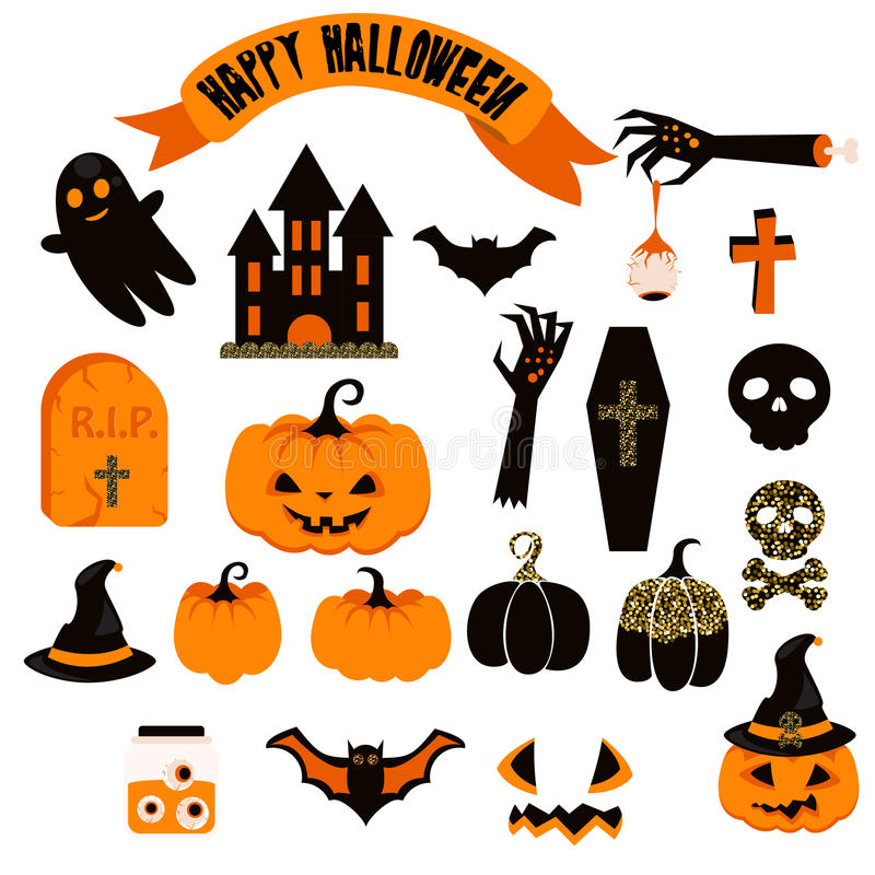 Halloween vector clipart set. Spooky pumpkin icons. vector illustration