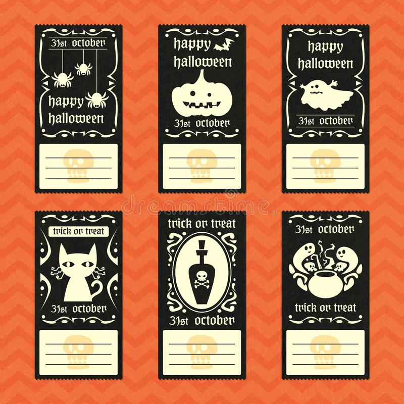 Halloween vector greeting card vintage style collection royalty free stock photo