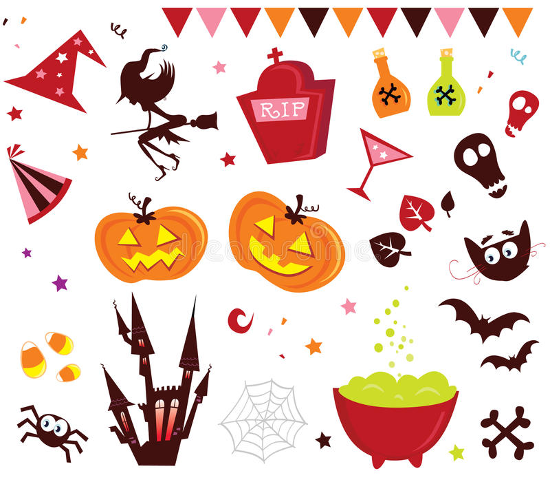 Halloween vector Icons set III. Halloween vector icons in red color royalty free illustration