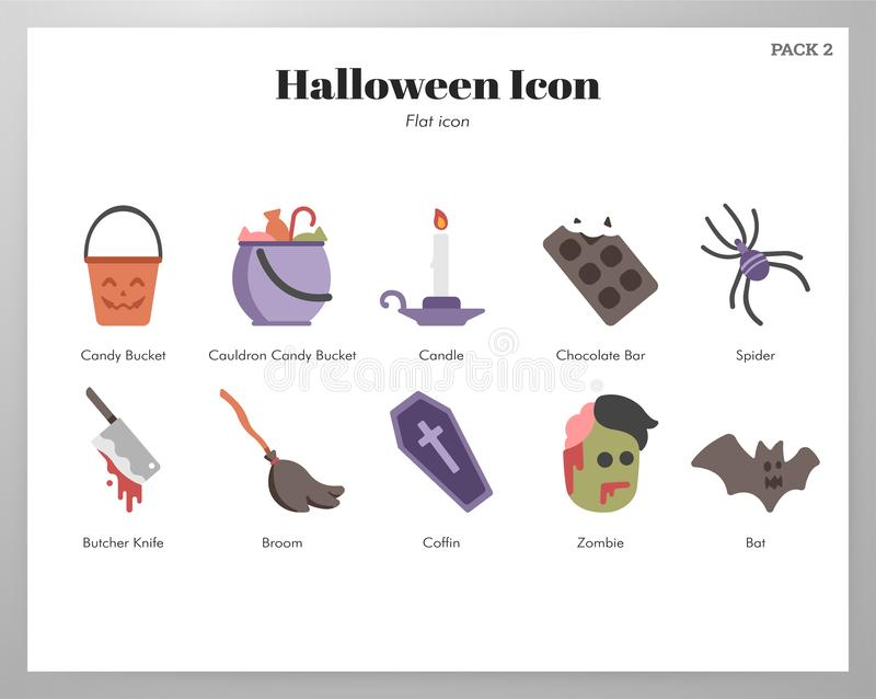 Halloween icons flat pack vector illustration