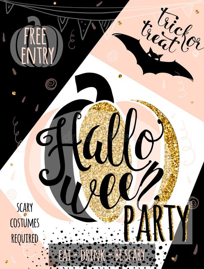 Halloween vector illustration glitter luxury invitation to party stock illustration