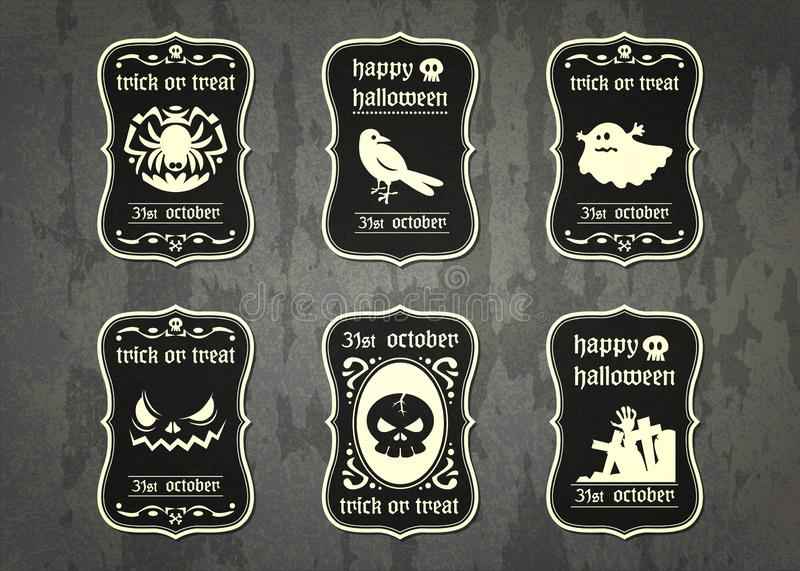 Happy Halloween vector tag with cute cartoon in vintage style stock images